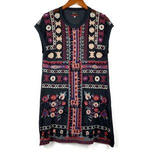 Johnny Was Black Colorful Embroidered Mini Dress